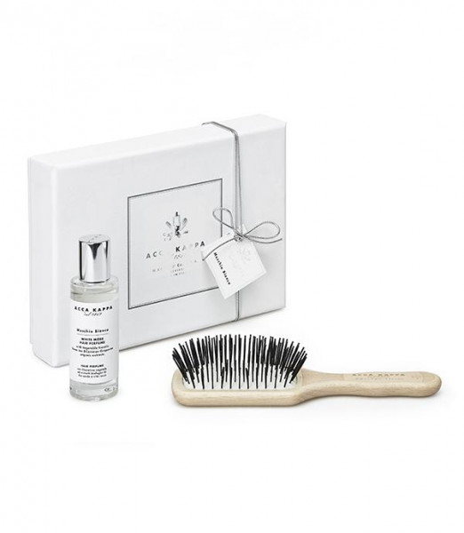White Moss Gift Set - Hair Perfume with Travel Protection Beechwood Brush