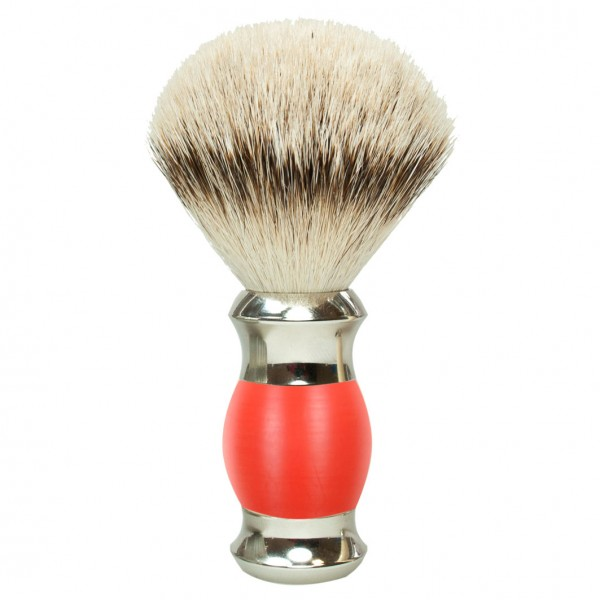 Rasierpinsel Silberspitz Grifffarbe Rot