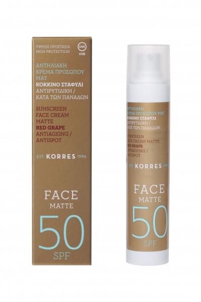 Korres Red Grape Sunscreen Face Cream Matte SPF 50