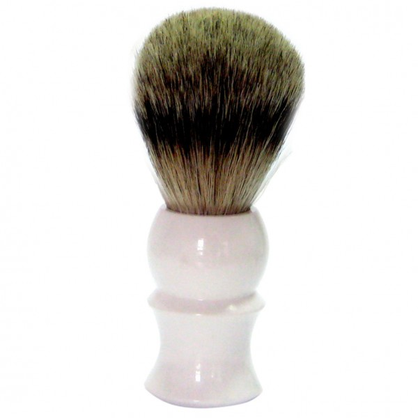 Rasierpinsel Kunststoff weiß Zupfhaar