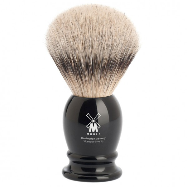 CLASSIC Silberspitz Rasierpinsel aus schwarzem Edelharz
