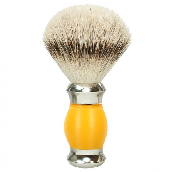 Rasierpinsel Silberspitze Grifffarbe Gelb