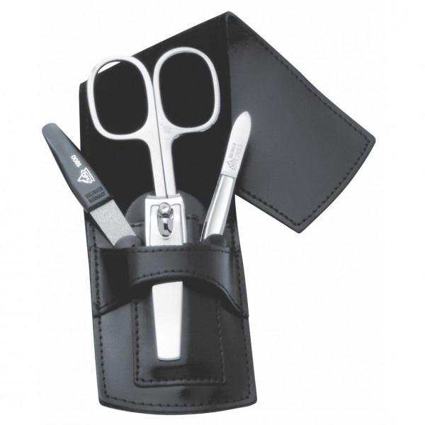 Manicure Taschenetui, schwarzes Leder