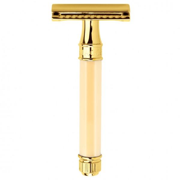 Doppelkanten-Rasierapparat, achteckiger Griff aus Elfenbeinimitat, vergoldet