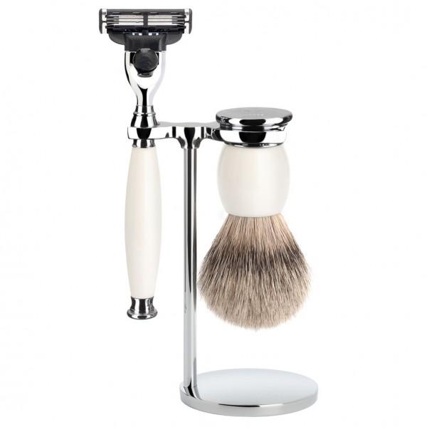 SOPHIST 3-tlg. Silberspitz Rasier-Set Griffe weißes Porzellan Gillette® Mach3®