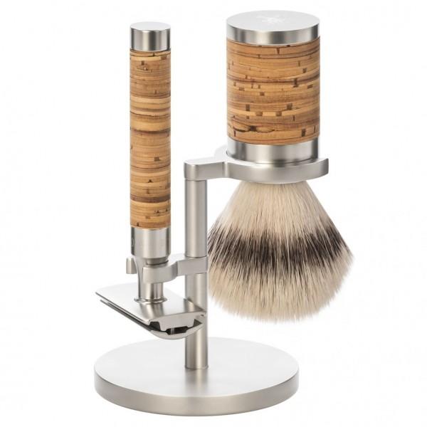 Rocca 3 tlg. Rasierset Silvertip Fibre®, Griff Birkenrinde