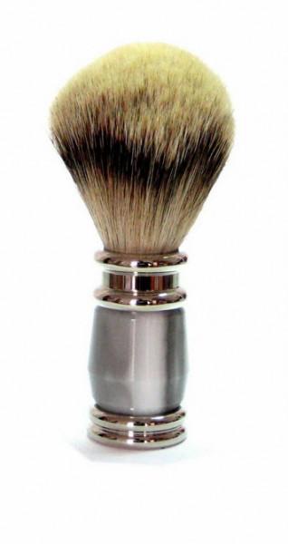 Rasierpinsel Kunstharz grau/Silber mit Silberdachs