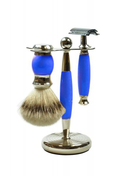 3-tlg. Rasierset - Grifffarbe blau