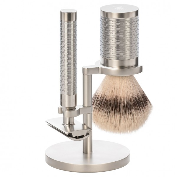 Rocca 3 tlg. Rasierset Silvertip Fibre®, Griff Edelstahl