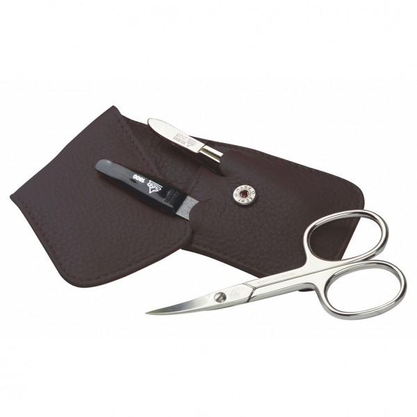 Manicure Taschenetui Serie Siena 3-Teilig Leder Braun