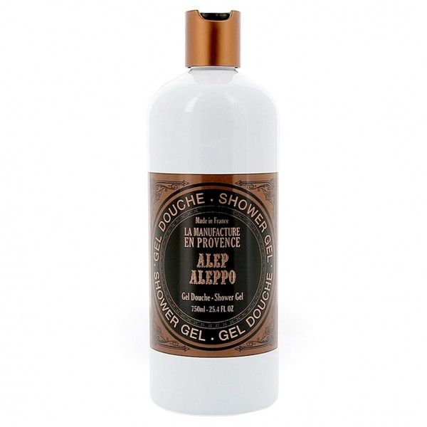 LA MANUFACTURE EN PROVENCE 99,6% natürliches Duschgel Aleppo in Weiss - Kupfer Design Flasche, 750ml