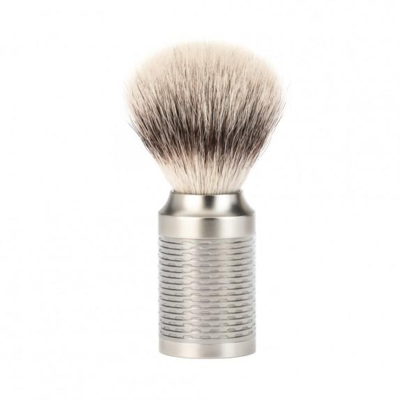 Mühle Rocca Rasierpinsel mit Silvertip Fibre®, Griff Edelstahl