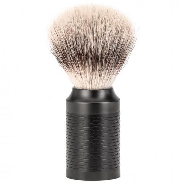 Rocca Rasierpinsel Silvertip Fibre®, Griff Edelstahl/schwarz, DLC