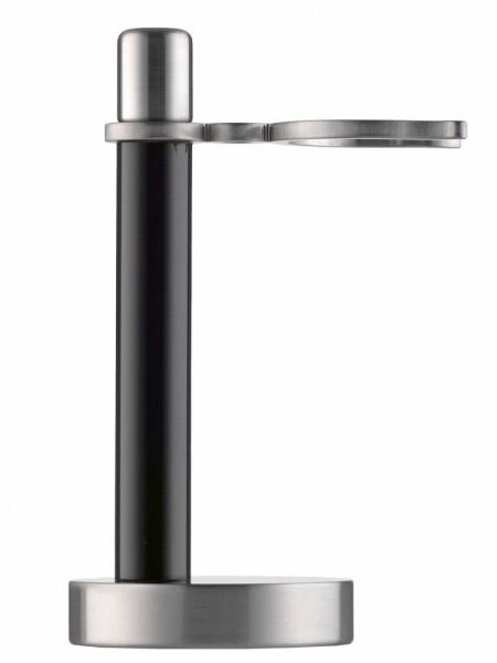 Rasierständer für Rasierpinsel, Plexiglas schwarz / Edelstahl mattiert