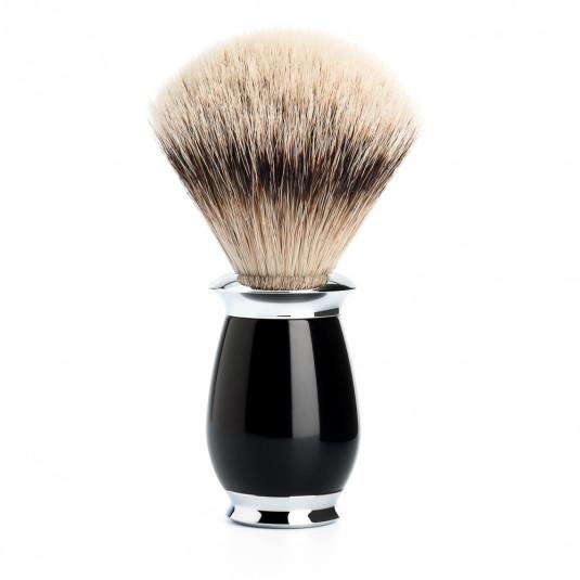 PURIST Silberspitz Rasierpinsel Griffmaterial Edelharz schwarz