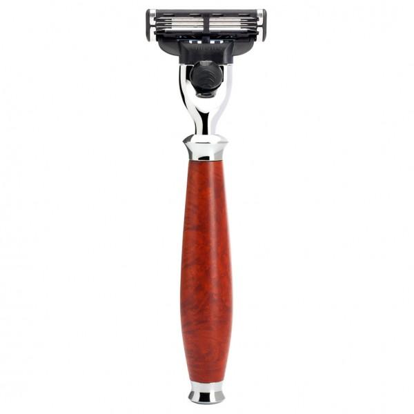 PURIST 3-Klingen Rasierer Gillette® Mach3® Griffmaterial Bruyère-Holz