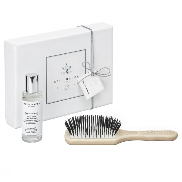 Muschio Bianco Gift Set - Hair Perfume with Travel Protection Beechwood Brush