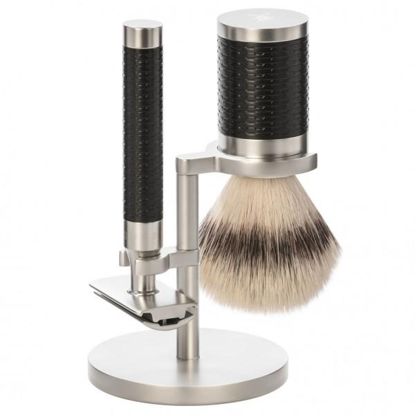 Rocca 3 tlg. Rasierset Silvertip Fibre®, Griff Schwarz