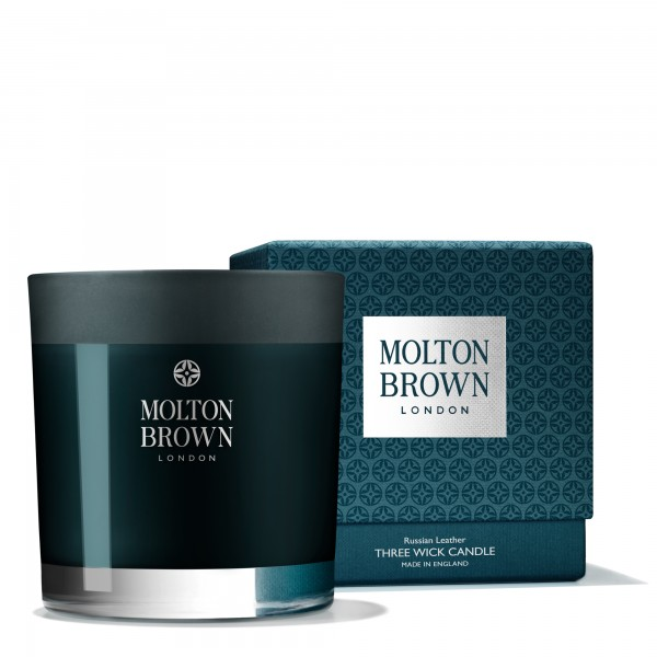 Molton Browns Russian LeatherThree Wick Candle