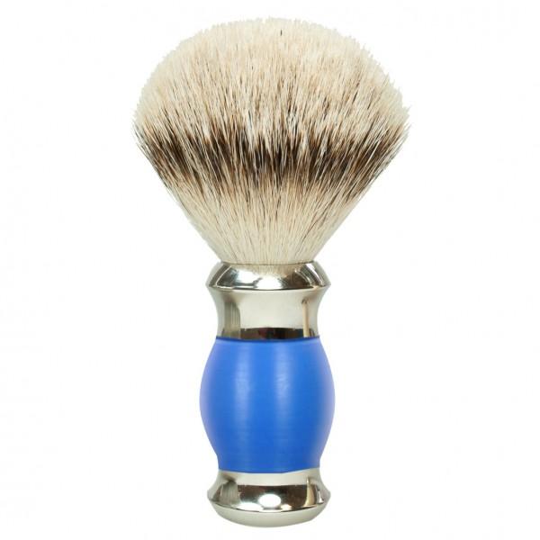 Rasierpinsel Silberspitze Griffarbe Blau/Silber