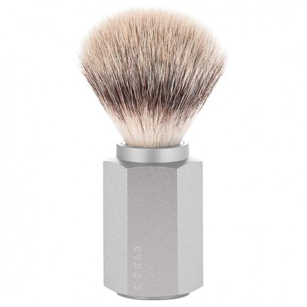 HEXAGON Silvertip Fibre® Rasierpinsel, Griffmaterial Aluminium eloxiert, silber